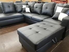 Contemporary black faux leather sectional