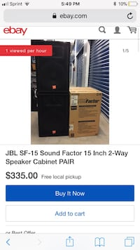 Two JBL 15inch Speakers W/ American Audio Amp v2000+ Garden City, 11530