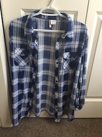 Blue and white plaid shirt Calgary