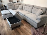 white fabric sectional sofa with ottoman 2293 mi
