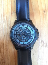 round black chronograph watch with black leather strap Ancaster, L9G 2Z1