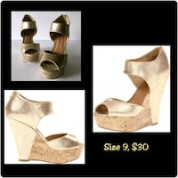 pair of gold leather open toe ankle strap heels Tuscaloosa