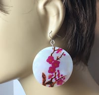 pink, white and brown floral round earring