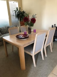 Rectangular white wooden table with four chairs dining set Brentwood, 94513
