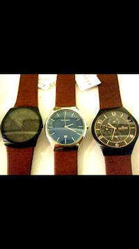 4 Skagen Leather Watchs.
