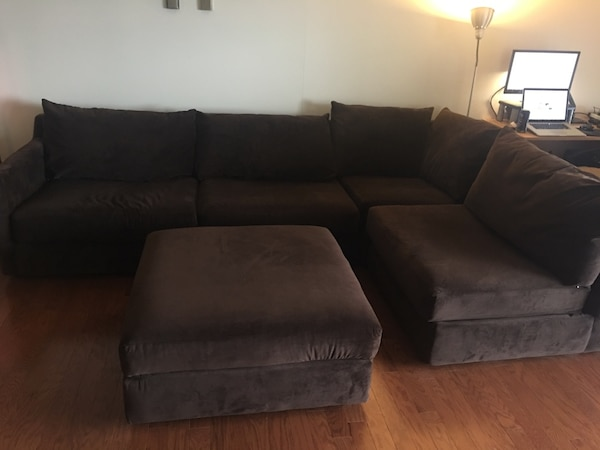 Used Brown Suede 4pc Sectional Couch Ottoman Jordan S