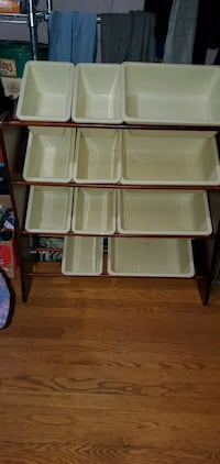 Wooden Toy Rack with Plastic Bins
