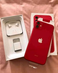 Red iPhone 11 with box