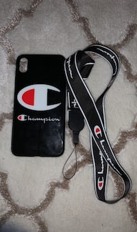 Champion iPhone XS Max case and lanyard