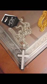 Cross gold plated heavy chain long pendant