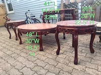 Vintage more than 30 yrs mahogany hall/console , coffee & 2 corner tables  marble top.   Delivery is available depending on location. First come first serve unless deposit to hold.  Hamilton, L8V 1T2