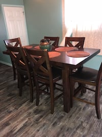 rectangular brown wooden table with six chairs dining set Philadelphia, 19154