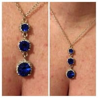 Lab sapphires and sterling silver chain.  Glen Burnie, 21061