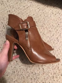 brown leather side-zip chunky heeled booties Ajax, L1T 1T6