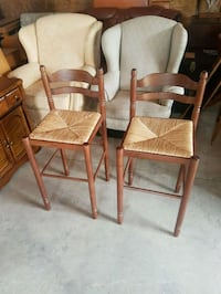 pair of rush seat ladder back bar stools  Brampton, L6X