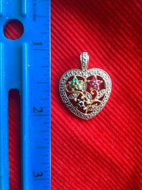 Heart Pendant with gemstones $28 / Hoop earrings gold over silver each $20 Alexandria, 22311
