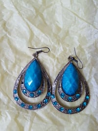 pair of blue and silver earrings