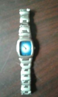 silver and blue analog watch with link bracelet 364 mi