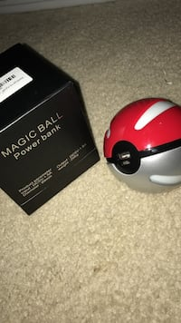Red and gray magic ball power bank with box
