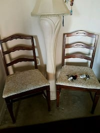 two brown wooden framed padded chairs Woodbridge, 22193