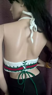 White red green halter top Lincoln