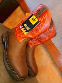 brown-and-red Ariat leather work boots Dallas, 75203