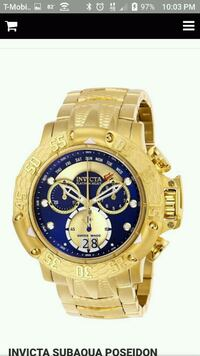 round gold-colored chronograph watch with link bra Inkster, 48141