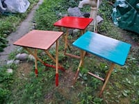 Folding wood tables.