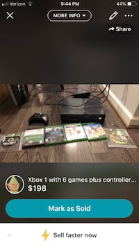 Xbox 1 with controller and 6 games  Reston, 20191
