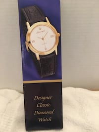 NEW... Black leather strap gold analog watch with box Winchester, 22602