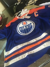 blue and white Oilers CCM jersey shirt Edmonton, T5K 1R5