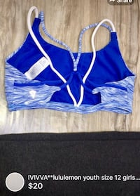 IVIVVA**lululemon youth size 12 girls sport bra -great condition barely used London, N5W 1E8