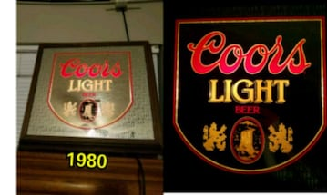 1980 Coors lighted beer mirror.