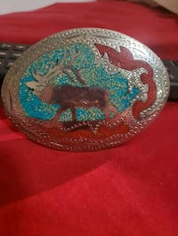 Handmade Turquoise & Red Sand Hand Engraved Silver Belt Buckle with Mo