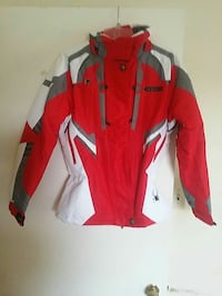 red, white, and grey spyder jacket