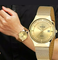 round gold analog watch with gold link bracelet Windsor, N9B 2E8