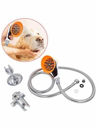 Pet Shower Sprayer Attachment Set,Innovative Shower Brush and Splash Shield,Sprayer & Scrubber in-One Dog Shower Kit for Dog Cat Horse Cleaning and Grooming and Massage New York, 11358
