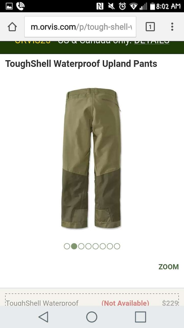 5f8e7cc138b88 Used ORVIS Toughshell Waterproof Upland 33x34 Pants for sale in Roanoke -  letgo