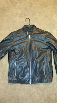 black leather zip-up mens jacket East Stroudsburg, 18302