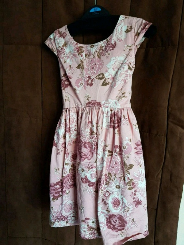 white and pink floral sleeveless dress