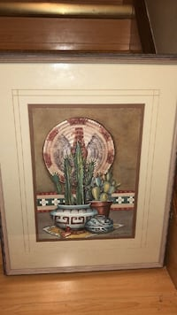 gray framed cacti painting