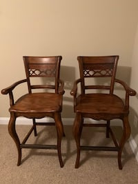 Pair of Solid Wood Barstools
