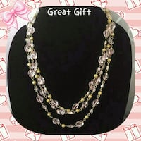 NEW EXTRA LONG GOLD TONE PALE PINK BEAD NECKLACE Ontario, 91762