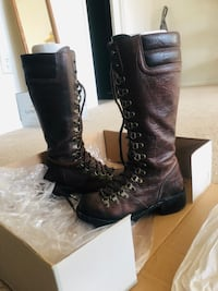 Frye tall lace zip up combat boot, size 6