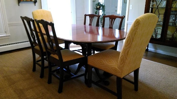 Mahogany Dining Table + 6 Dining Chairs (upholstered Seats) + 2 Upholstered  Fabric Chairs.