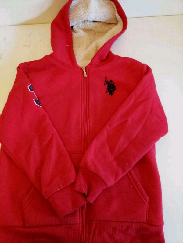 red Polo zip-up hoodie