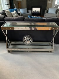 Chrome and glass heavy weight Sofa table