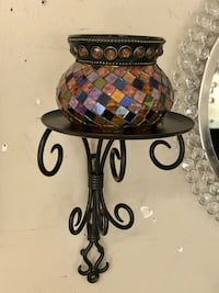 Mosaic Candle Holder with Wall Mount
