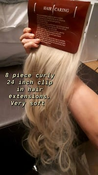 8 piece curly clip in hair extensions never used