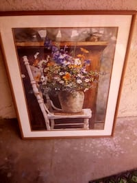 brown wooden framed painting of flowers Bakersfield, 93304